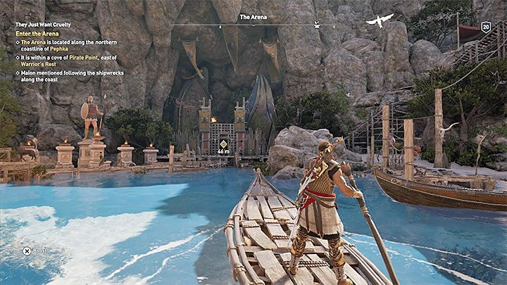 Reach the shore, where Maion left the boat - How to get to Arena in Assassins Creed Odyssey? - FAQ - Assassins Creed Odyssey Guide