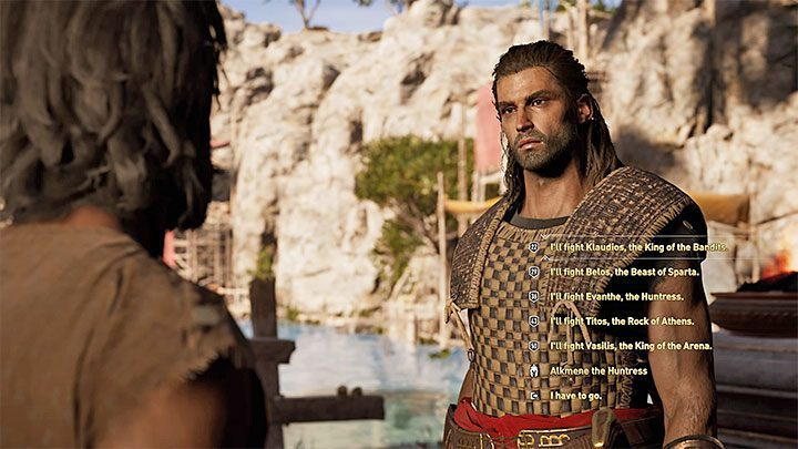 After entering the Arena, talk to Skoura - How to get to Arena in Assassins Creed Odyssey? - FAQ - Assassins Creed Odyssey Guide