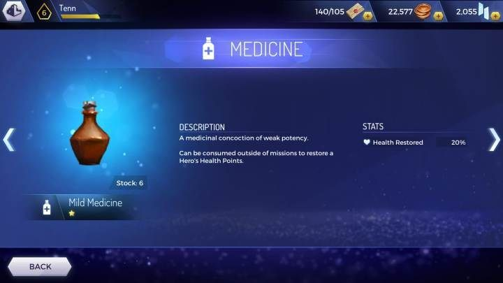 Mild Medicine: renews 20% of health points - How to regenerate health in Assassins Creed Rebellion? - Basics - Assassins Creed Rebellion Guide