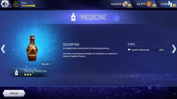 Strong Medicine: renews 45% of health points - How to regenerate health in Assassins Creed Rebellion? - Basics - Assassins Creed Rebellion Guide