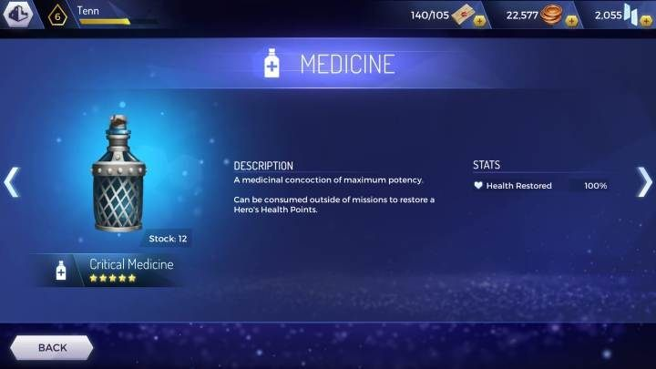 Critical Medicine: renews 100% of health points - How to regenerate health in Assassins Creed Rebellion? - Basics - Assassins Creed Rebellion Guide