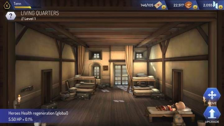 Once you reach level 3, you will be able to create Living Quarters - How to regenerate health in Assassins Creed Rebellion? - Basics - Assassins Creed Rebellion Guide
