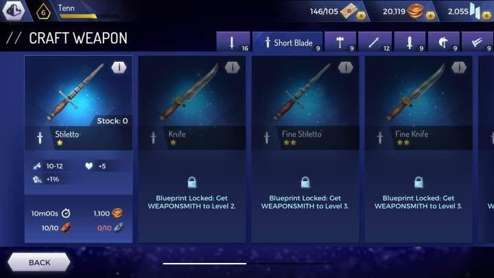 Stiletto - Weapons available in the Assassins Creed Rebellion game - Equipment - Assassins Creed Rebellion Guide