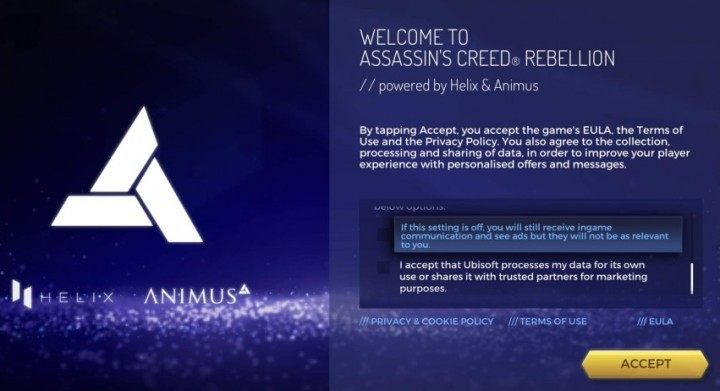 The game requires some information to be confirmed when starting for the first time - Assassins Creed Rebellion Guide