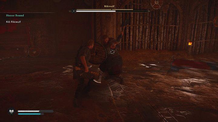 Быстрых атак Рикивульфа можно избежать, но лучше блокировать их щитом и парировать, чтобы получить преимущество - Assassins Creed Valhalla: прохождение Honor Bound - Rygjafylke - Assassins Creed Valhalla Guide