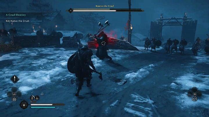 Когда вы видите красную ауру вокруг Кьотве, когда он поднимает топоры вверх, это означает, что он совершит мощный удар - Assassins Creed Valhalla: Битва с жестоким боссом Кьотве - как победить?  - Боссы - Assassins Creed Valhalla Guide