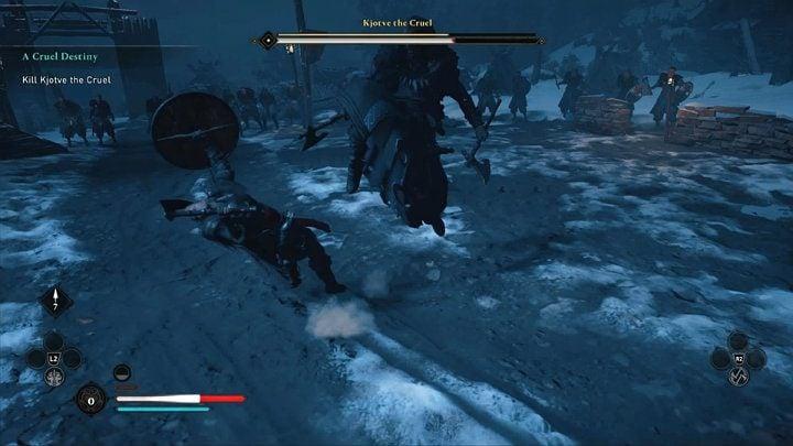 Вам также следует остерегаться атаки в прыжке, когда он бьет вас коленом - Assassins Creed Valhalla: Kjotve the Cruel boss fight - как победить?  - Боссы - Assassins Creed Valhalla Guide