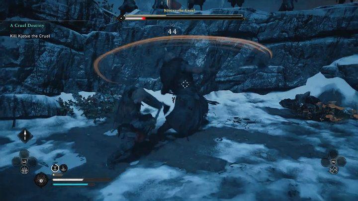 Битва переходит в другую зону - у вас будет гораздо меньше места для маневров - Assassins Creed Valhalla: Kjotve the Cruel boss fight - как победить?  - Боссы - Assassins Creed Valhalla Guide