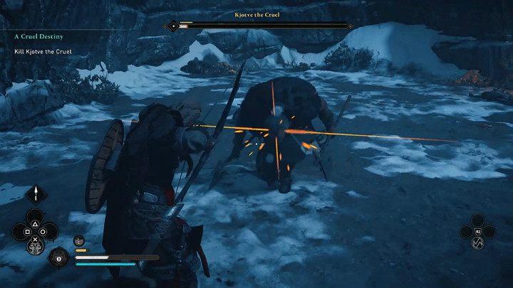 У Хётве есть прыжковая атака коленом - такая же, как во второй фазе этой дуэли - Assassins Creed Valhalla: Битва с жестоким боссом Хётве - как победить?  - Боссы - Assassins Creed Valhalla Guide