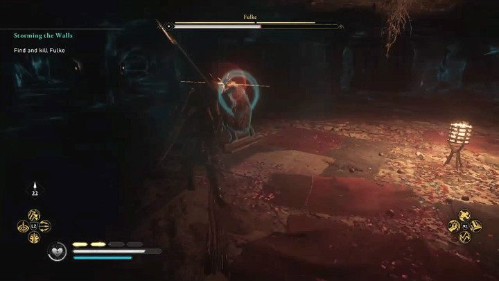 У Фульке есть неблокируемые атаки, которые она может использовать во время бега, и они обозначаются красной вспышкой - вы должны избегать их любой ценой - Assassins Creed Валгалла: битва с боссом Фулька - как победить?  - Боссы - Assassins Creed Valhalla Guide