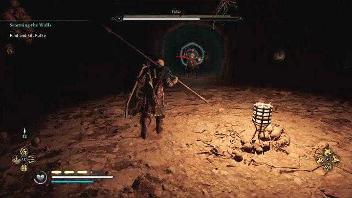 Враг также будет использовать зажигательные бомбы, которые наносят урон в пределах радиуса взрыва - Assassins Creed Valhalla: битва с боссом Фульке - как победить?  - Боссы - Assassins Creed Valhalla Guide