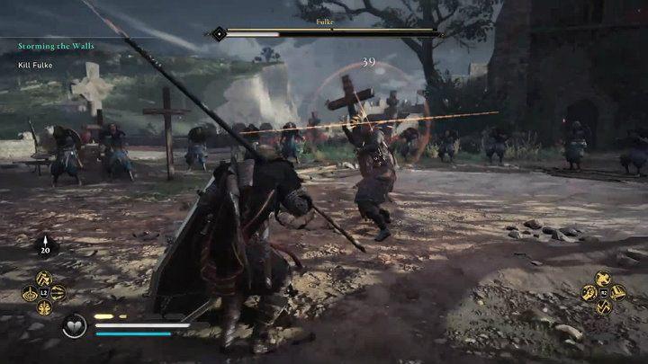 Когда бой переместится на площадь перед церковью, Фульк будет сражаться с большим деревянным крестом - Assassins Creed Valhalla: Битва с боссом Фулька - как победить?  - Боссы - Assassins Creed Valhalla Guide