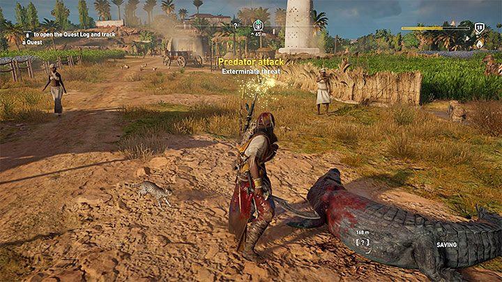 Cuando estás viajando por el mundo de AC: O, puedes encontrar muchos eventos aleatorios, como un ataque de un depredador en aldeanos (un signo de admiración con una breve descripción aparecerá en el mapa, ejemplo anterior) - Cómo subir de nivel rápidamente en Assassins Creed Origins?  - Preguntas frecuentes - Guía del juego Assassins Creed Origins