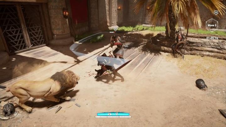 Usar los ataques de dominación, que agotan la adrenalina, es una buena idea para los enemigos más poderosos con escudos: ¿cómo ganar peleas en el Krokodilopolis Arena?  - Preguntas frecuentes - Guía del juego Assassins Creed Origins