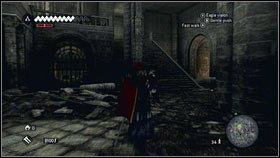 In the hall with a huge cross, go in the direction of the closed gate [1] and turn right when you will pass the stairs [2] - Romulus Lair - Treasures and Merchant Quests - Assassins Creed: Brotherhood - Game Guide and Walkthrough