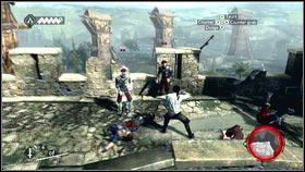 Jump down on the other side [1] and then kill all enemies using your counterattacks [2] - Sequence 1 - Peace at Last - p. 2 - Walkthrough - Assassins Creed: Brotherhood - Game Guide and Walkthrough