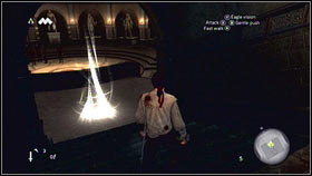 When you will be inside the corridor go straight ahead [1] until you will get to the glowing point [2] - Sequence 1 - Peace at Last - p. 2 - Walkthrough - Assassins Creed: Brotherhood - Game Guide and Walkthrough