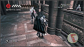 Around the corner the situation will be very similar, except that the monks are standing and guards are walking - Main Plot - Sequence 14 - Main Plot - Assassins Creed II - Game Guide and Walkthrough