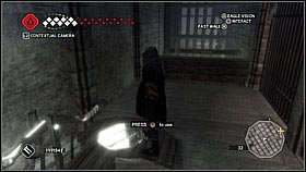 Go to the opposite platform above [1] Quickly activate the mechanism and run towards the opening grates using the beams - Forli - Ravaldinos Secret - Dungeons - Assassins Creed II - Game Guide and Walkthrough