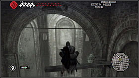 There, climb on a wooden platform [1] and then jump on the beam leading to the door - Forli - Ravaldinos Secret - Dungeons - Assassins Creed II - Game Guide and Walkthrough