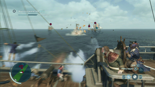 Holding down and then releasing the free run button will launch a powerful cannon volley from the side of the ship, aimed at where the camera is pointing - Naval battles - Ships - Assassins Creed III - Game Guide and Walkthrough