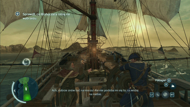 Out in the sea, always try to go with the wind, the direction of which can be seen on the mini-map in the lower left corner of the map - Controlling the ship - Ships - Assassins Creed III - Game Guide and Walkthrough