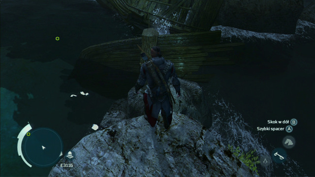 As you reach the shore, climb onto the nearest rocks and jump from them onto the wreck on the right - Naval mission - Dead Chests Treasure | Captain Kidds treasure in AC III - Captain Kidds treasure - Assassins Creed III Game Guide & Walkthrough