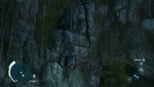 That way you will reach a small beach from where you have to climb onto the cliff on the left - Naval mission - Dead Chests Treasure | Captain Kidds treasure in AC III - Captain Kidds treasure - Assassins Creed III Game Guide & Walkthrough