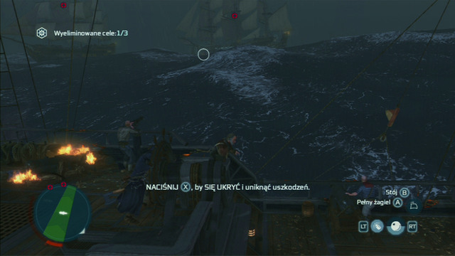 After a successful attack, a white ring should appear on the enemy ship, pointing to the gunpowder storage - Biddles Hideout | Naval missions in Assassins Creed III Remastered - Naval missions - Assassins Creed III Game Guide & Walkthrough