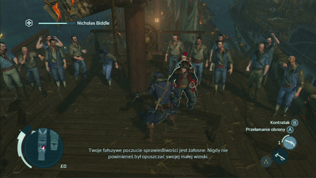 To defeat Biddle, press the jump or counterattack button after each successful block and afterwards hit him a couple times while hes out of balance - Biddles Hideout | Naval missions in Assassins Creed III Remastered - Naval missions - Assassins Creed III Game Guide & Walkthrough