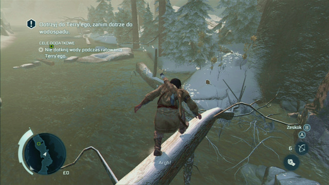 Optional objective: Do not touch the water while rescuing Terry - Sequence 5 - River Rescue - Walkthrough - Assassins Creed III - Game Guide and Walkthrough