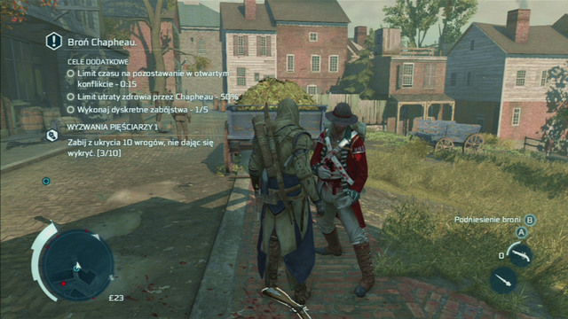 Throughout the whole mission, a dozen or so meters in front of your companion and as soon as you see a soldier, approach him from behind and assassinate with the hidden blade - Sequence 6 - The Angry Chef - Walkthrough - Assassins Creed III - Game Guide and Walkthrough