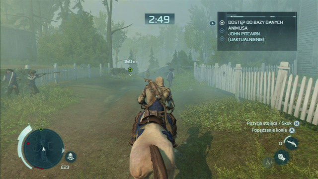 After the cutscene, quickly get onto the nearest horse and ride towards the direction marked on the map - Sequence 7 - Lexington and Concord - Walkthrough - Assassins Creed III - Game Guide and Walkthrough
