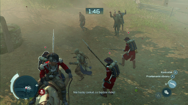 Quickly turn left then, kill all the soldiers and move on towards the green points - Sequence 7 - Lexington and Concord - Walkthrough - Assassins Creed III - Game Guide and Walkthrough