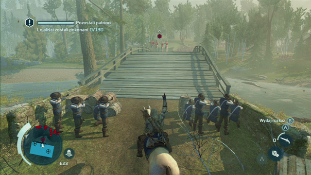 To get full synchronization, you need to approach the groups a bit earlier and press the interaction button when they are all already aiming at the British soldiers - Sequence 7 - Lexington and Concord - Walkthrough - Assassins Creed III - Game Guide and Walkthrough