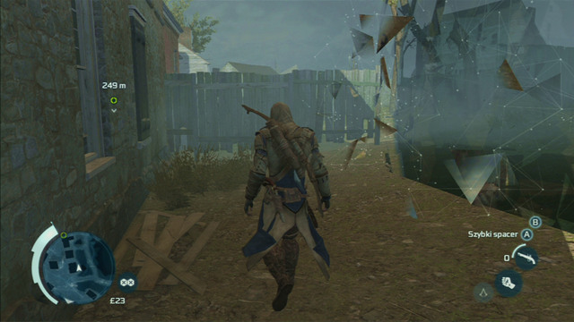 In order to avoid damage, go maximally to the right after reaching the main road and stick to the edge of the location (grey Animus wall) - Sequence 7 - Conflict Looms - Walkthrough - Assassins Creed III - Game Guide and Walkthrough