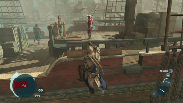 Instead, eliminate the enemy walking nearby the edge and the soldier standing by the end of the ship - Sequence 7 - Conflict Looms - Walkthrough - Assassins Creed III - Game Guide and Walkthrough