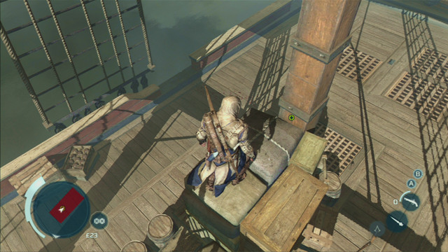 With both enemies dead, climb the pile of crate by the mast and kill the grenadier from there - Sequence 7 - Conflict Looms - Walkthrough - Assassins Creed III - Game Guide and Walkthrough