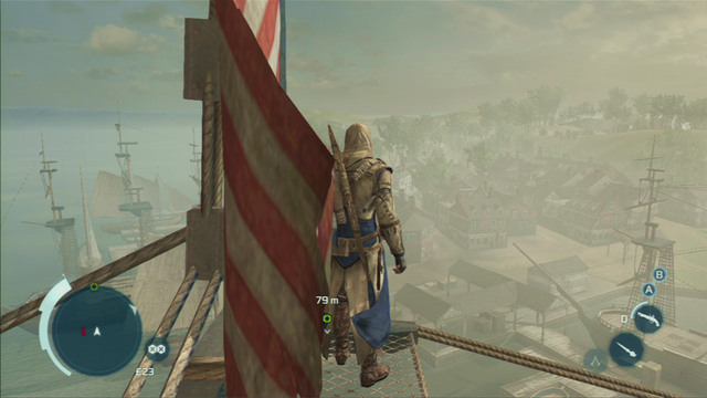 After the explosion, return to the wreck and climb the mast to change the flag - Sequence 7 - Conflict Looms - Walkthrough - Assassins Creed III - Game Guide and Walkthrough
