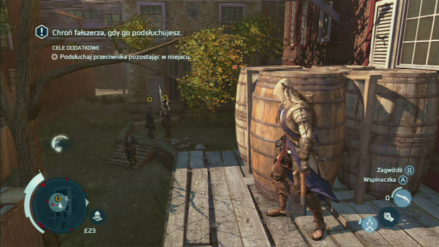Optional objective: Perform a successful static eavesdrop - Sequence 8 - Something on the Side - Walkthrough - Assassins Creed III - Game Guide and Walkthrough