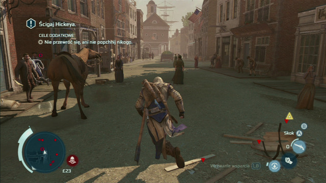 Optional objective: Do not tackle of shove anyone - Sequence 8 - Something on the Side - Walkthrough - Assassins Creed III - Game Guide and Walkthrough