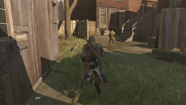 Behind the second wooden stairs you will have to once again run right - Sequence 8 - Something on the Side - Walkthrough - Assassins Creed III - Game Guide and Walkthrough
