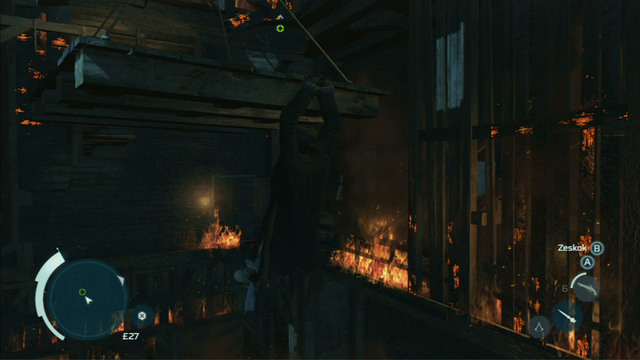That way you will reach a platform hanging from the ceiling - Sequence 9 - The Foam and The Flames - Walkthrough - Assassins Creed III - Game Guide and Walkthrough