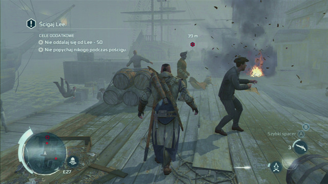 Start off by quickly jumping to the seashore to avoid the first group of guards - Sequence 12 - Chasing Lee - Walkthrough - Assassins Creed III - Game Guide and Walkthrough