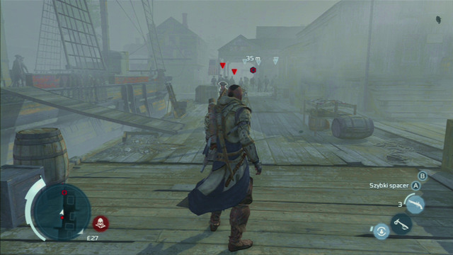 The second and third group can be avoided by jumping along nearby barrels - Sequence 12 - Chasing Lee - Walkthrough - Assassins Creed III - Game Guide and Walkthrough