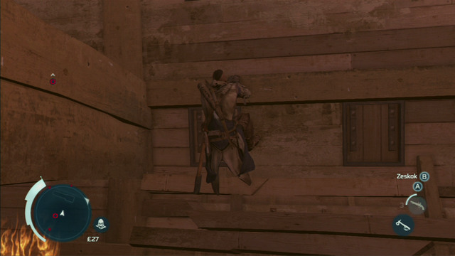 From there you have to run onto the wall on the right and afterwards jump left - Sequence 12 - Chasing Lee - Walkthrough - Assassins Creed III - Game Guide and Walkthrough
