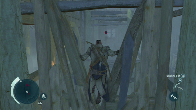 To catch up with your target, you should run around the construction and slide under one of the wooden barricades - Sequence 12 - Chasing Lee - Walkthrough - Assassins Creed III - Game Guide and Walkthrough