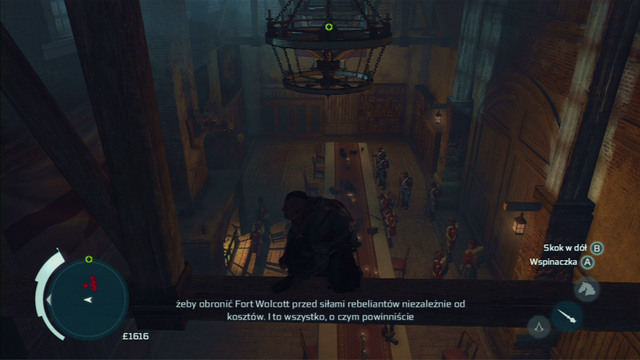 Pass through the room full of soldiers by jumping between the chandeliers - Naval mission - Fort Wolcott - Captain Kidd's treasure - Assassins Creed III - Game Guide and Walkthrough