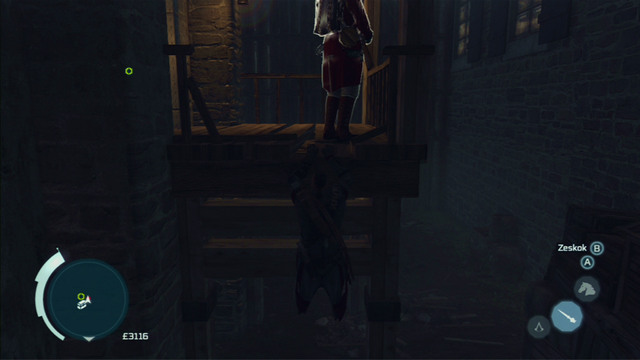 That way you will reach another guard - Naval mission - Fort Wolcott - Captain Kidd's treasure - Assassins Creed III - Game Guide and Walkthrough