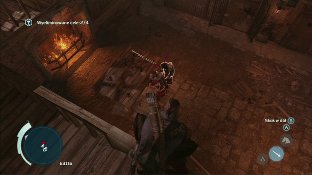 To eliminate the two enemies below, equip the hidden blade, jump onto the balustrade and aim so that both enemies are lit - Naval mission - Fort Wolcott - Captain Kidd's treasure - Assassins Creed III - Game Guide and Walkthrough